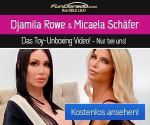 Micaela Schäfer und Djamila Rowe beim Toybox-Unboxing auf FunDorado.com